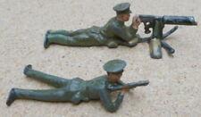 Vintage Britains Lead Toy Soldiers Ww1 Peaked Cap Machine Gun + Rifle Lying