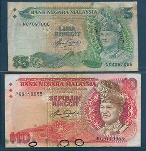 Malaysia 5 10 Ringgit Lot, 1983, P 20 21, VF- VF see description