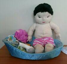 "IKEA Lekkamrat Black Hair Asian Plush 18"" Doll with Bathtub and Accessories"