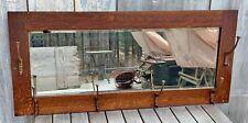 """Antique Mission Craftsman Tiger Oak Large 39"""" Mirror w/ 6 Coat Rack Hooks 1900"""