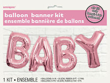 BABY SHOWER BALLOON BANNER KIT BABY PINK 35cm AIR FILLED BALLOONS
