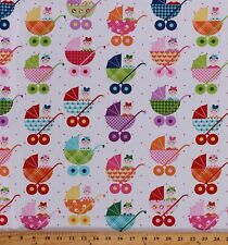 Cotton Babies in Strollers Baby Carriage Cutie Kids Fabric Print BTY D772.53