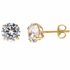 14K Solid Gold CZ Baby Stud Earrings 3mm Basket Setting