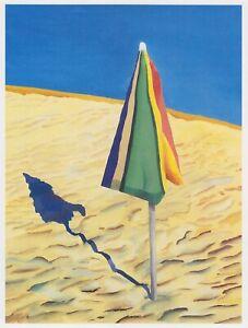Beach Umbrella David Hockney print in 11 x 14 mount ready to frame SUPERB