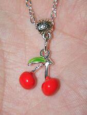 "RED CHERRY Necklace GOOD LUCK Charm VEGAS Gambling SLOT Machine 20.5"" Chain NEW!"