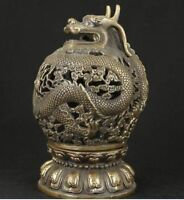 CHINESE OLD BRONZE COLLECTABLE HANDWORK CARVED DRAGON INCENSE BURNER