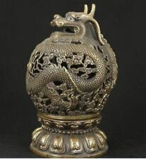 CHINESE OLD BRONZE COLLECTABLE HANDWORK CARVED DRAGON INCENSE BURNER Statue