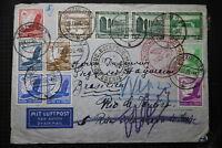 GERMANY BRAZIL FLIGHT AIRMAIL 1936 LEIPZIG RIO DE JANEIRO BOTAFOGO  A95 RAIR13