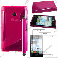 Housse Etui Coque Silicone S-line Rose LG Optimus L3 E400 + Stylet + 3 Films