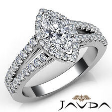 Halo Prong Set Marquise Diamond Engagement Ring GIA F VS1 18k White Gold 1.75Ct