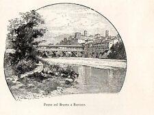 Stampa antica BASSANO DEL GRAPPA Ponte in legno Vicenza 1892 Old Print