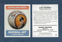 Sheldon BASEBALL ART card: #14 LOU GEHRIG, Yankees promotional/advertising