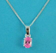 "Sterling Silver & Rose Cubic Zirconia Oval Pendant Necklace 18"" Silver Chain"