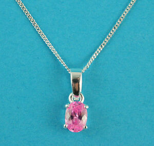 """925 Sterling Silver & Rose Cubic Zirconia Oval Pendant 18"""" Necklace Silver Chain"""