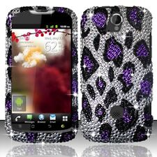 T-Mobile Huawei myTouch Q U8730 Crystal BLING Case Phone Cover S. Purple Leopard