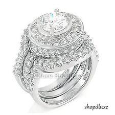 4,95 CT HALO круглый огранка 925 пробы серебряные Свадебные кольца комплект женский размер 411