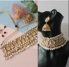 Gold Plated Kundan Choker Necklace Set Bollywood Bridal Indian Pearl Jewelry 2
