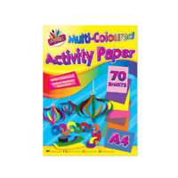 A4 Multi Coloured Activity Paper Art Craft 70 Sheets!