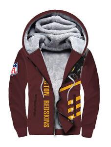 Washington Redskins Printed Hoodie Warm Fleece Sweatshirt Winter Hooded Jacket
