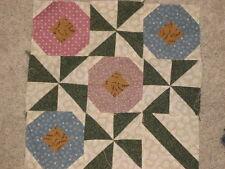 "Handmade MINI Quilt Top Block POSIES Thimbleberries Fabrics 12-1/2"" square"