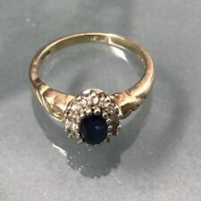 Women's 9ct Gold Quality Diamond & Sapphire Ring Size N 1/2 Weight 3.2g Stamped