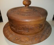 "Vintage Hand Carved Native Island Wood Pedestal Covered Cake Plate Large 16"" Dia"