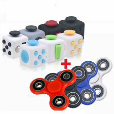 NEW Fidget Cube + Hand Spinner COMBO SET Anxiety Stress Relief Focus Desk ADHD