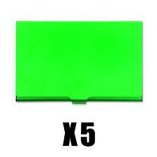 5 x GREEN BUSINESS CREDIT CARD HOLDER METAL SNAP SHUT COLOURFUL SLIM POCKET SIZE