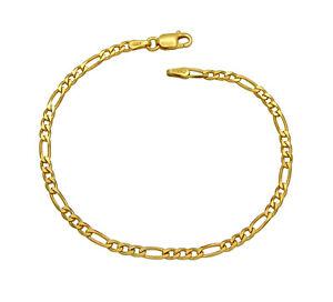 Damen Figaro Armband 925 Sterling Silber vergoldet 3mm 17 - 21 cm Figarokette
