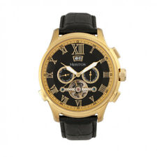Heritor Automatic Hudson Semi Skeleton Black Leather Gold Watch w/ Date HR7503