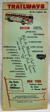TRAILWAYS OF NEW ENGLAND BUS SERVICE TIMETABLE BROCHURE GUIDE 1953 VINTAGE