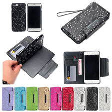 For iPhone XS Max XR 7 8 Leather Removable Wallet Magnetic Flip Card Case Cover