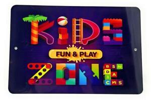 """KIDS fun & play ZONE Novelty  8"""" x 12"""" Aluminum Sign for Wall"""