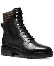 MICHAEL KORS BASTIAN ICONIC Black Gold Logo COMBAT BIKER BOOTS US 8 I LOVE SHOES