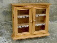 MEUBLE VITRINE étagères bois massif pin teinté chène clair - 2  portes