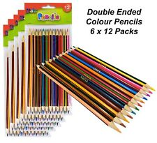 6 Packs x 12 Double Ended Colour Pencils Art Colouring Coloured Drawing Kids
