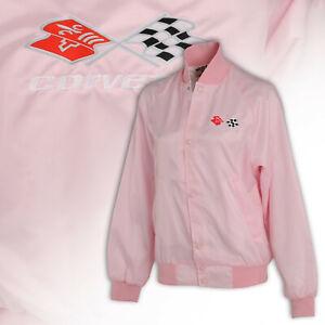 1968-1982 Corvette Pink Satin Nylon Ladies Jacket w C3 Embroidered Logos 620300