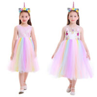 Unicorn Cosplay Costume Girls Kids Party Halloween Dress+Hair Hoop Set Outfits