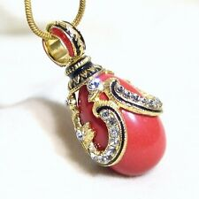 """Sterling Silver Red Coral Faberge Egg Pendant Crystals Gold-plate 24"""" Chain"""