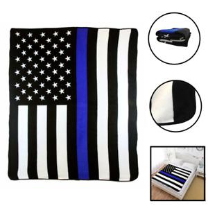 Thin Blue Line Blanket LEO Blue Live Matter Support Blue Lives PD Police Lives