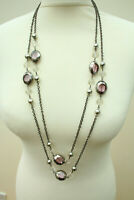 """Flapper Beaded Necklace Glass Beads Very Long Chain 73"""" 185cm"""