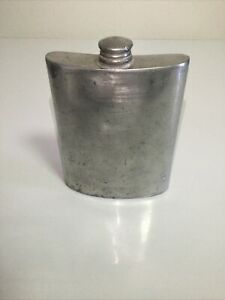 Vintage Nice Sheffield 8 oz. Pewter Flask Made In England .
