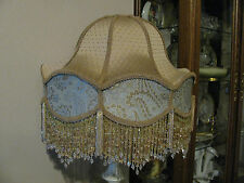 "Victorian French Large Lamp Shade ""Royal"" Gold, Teal  Beads Fringe Tassels"