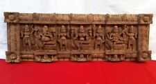 Ganesh Lakshmi Saraswathy Vintage Wooden Wall Panel Temple Art Collectible Decor