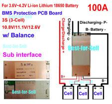 3S 11.1 12V 100A w/Balance Li-ion Lithium 18650 Battery BMS PCB Protection Board