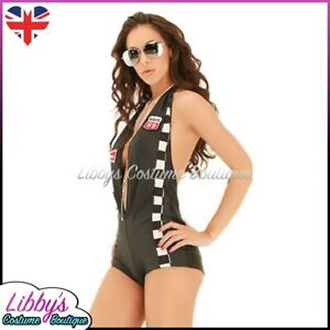 Ladies Racer Grid Girl PitCrew Nascar F1 Sexy Fancy Dress Costume Outfit UK 8-12