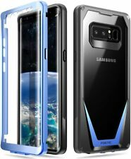 For Galaxy Note 8 Poetic TPU Bumper Cover Case w/Built-in-Screen Protector Blue