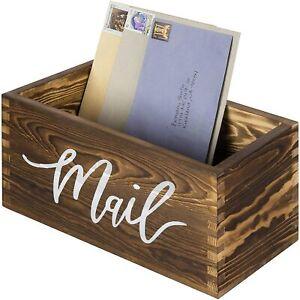 MyGift Rustic Dark Brown Wood Tabletop Decorative Mail Holder Box