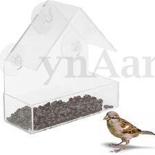 Window Bird Squirrel Feeder Acrylic Transparent Tray Birdhouse Suction Cup Mount