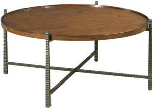 WOODBRIDGE REVERSE TAPERING METAL LEGS COCKTAIL TABLE ROUND GALLERIED TOP